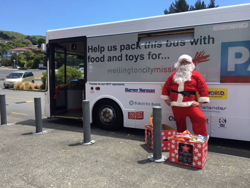 Outlet City Pack the Bus - Santa and the Bus